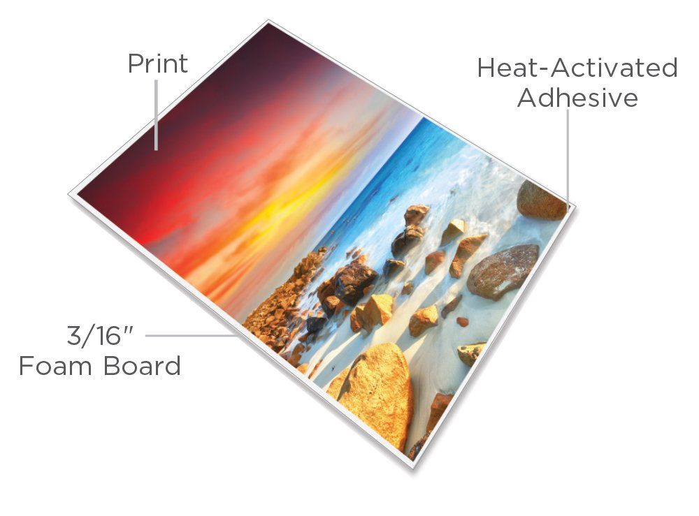 USI ProMount Heat-Activated Foam Boards, 25 x 37 inches, 3/16'' Thick, White, Box of 10