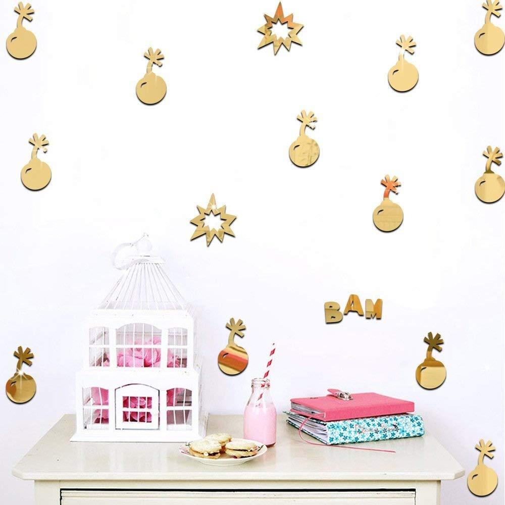 Ufengke 9-Pcs 3D Gold Bomb Mirror Effect Wall Decals, Children's Room Nursery Fashion Design Art Decals Home Decoration Ufingo