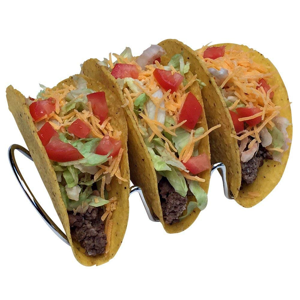 Premium Metal Racks Holds 2 Shells Stainless Steel Taco Stand for Hard Tacos Dishwasher Safe Soft Tacos Set of 2 KitchRite NA Prep Serve and Eat or Fish Tacos
