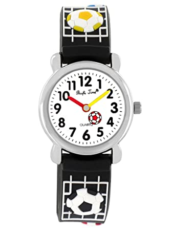 388c7aaf3b Pacific Time Kinder-Armbanduhr Fußball Jungen Mädchen Silikon Lernuhr  Sportuhr Analog Quarz schwarz 20074: Amazon.de: Uhren
