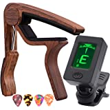 Capo Guitar Capo Rosewood Capo with Guitar Tuner Clip-On Tuner for acoustic guitar and More