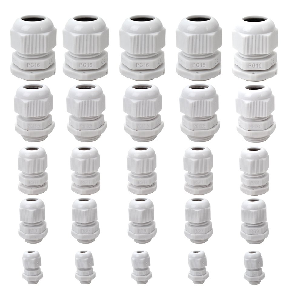 FASOTY Plastic Waterproof Adjustable 3.5-13mm Cable Glands Joints, PG7, PG9, PG11, PG13.5, PG16, White, Pack of 25