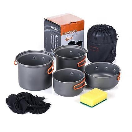 w-shig portátil 4pcs – Juego de ollas batería de cocina (Mess Kit Gear