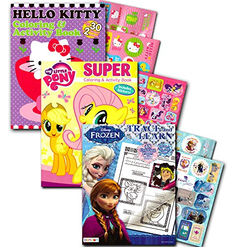 Kids Coloring Books With Stickers Assortment Hello Kitty My Little Pony Frozen