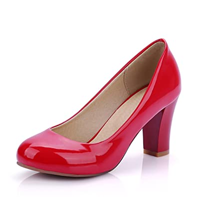 d4dddf5c53f Image Unavailable. Image not available for. Color  Daniig Size 31-47 Women  High Heel Pumps Red ...