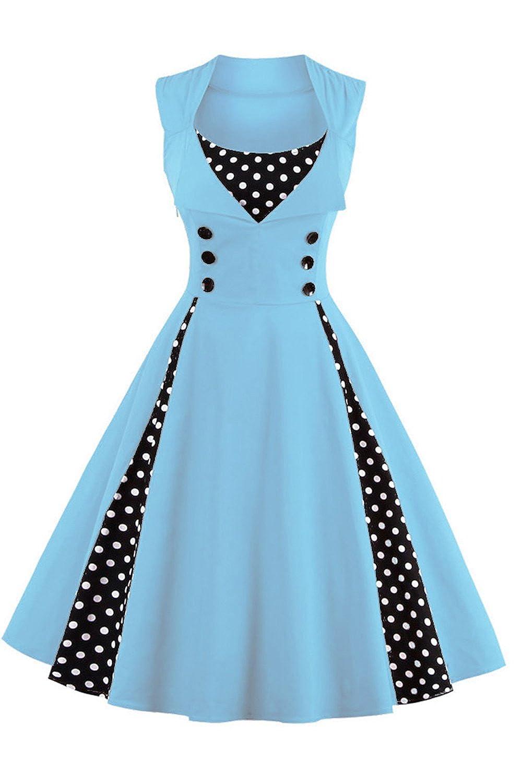 Babyonline Damen Polka Dots Vintage Kleider Winter Rockabilly Kleid ...