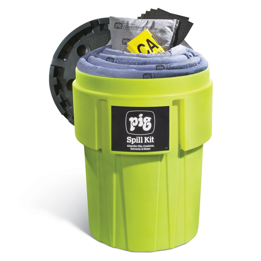 Spill Kit in 95-Gallon High-Visibility Container, Absorbs Oils, Coolants, Solvents & Water, 60-Gal Absorbency, Hi-Viz Spill Kit, New Pig KIT262