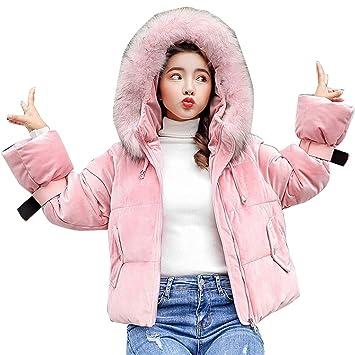 Guiran Abrigos Plumas Corto Mujer Chaquetones con Capucha Cazadoras Invierno Cálido Espesar Pink S