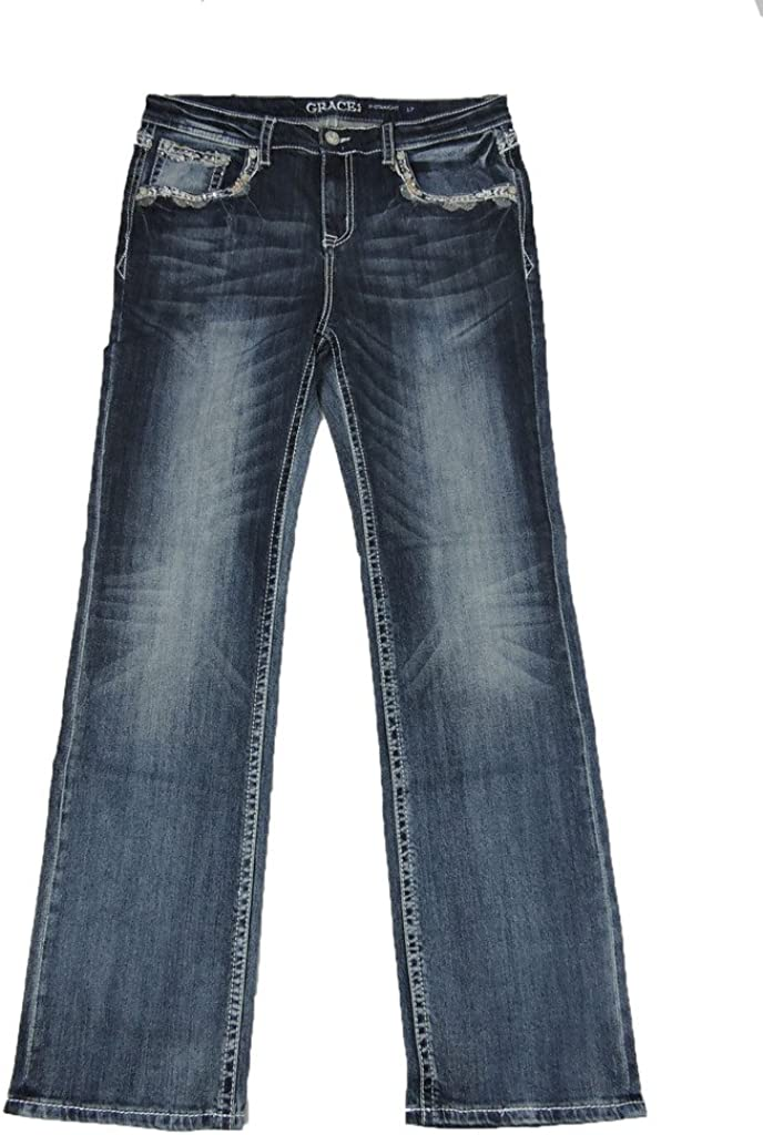 Grace L.A. Mail order cheap Idol Women Plus We OFFer at cheap prices Bootcut F Rise Mid Floral Jeans Aztec