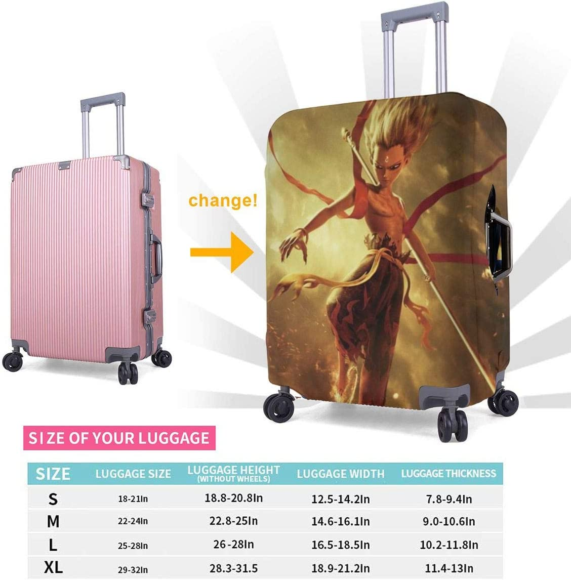 Travel Luggage Cover Ne Zha Cartoon Anime Travel Luggage Cover Suitcase Protector Fits 26-28 Inch Washable Baggage Covers