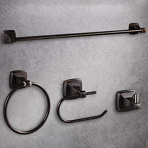 LUCKUP Oil Rubbed Bronze 4 Piece Bathroom Accessory Set, Towel Bar Accessory Set, Include 24'' Towel Bar, Robe Hook,6.6
