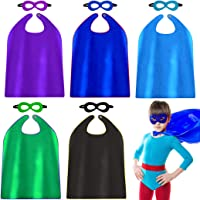 5 Pcs Kids Capes and Mask Party Decoration Role Cosplay Costumes Like Superhero Style