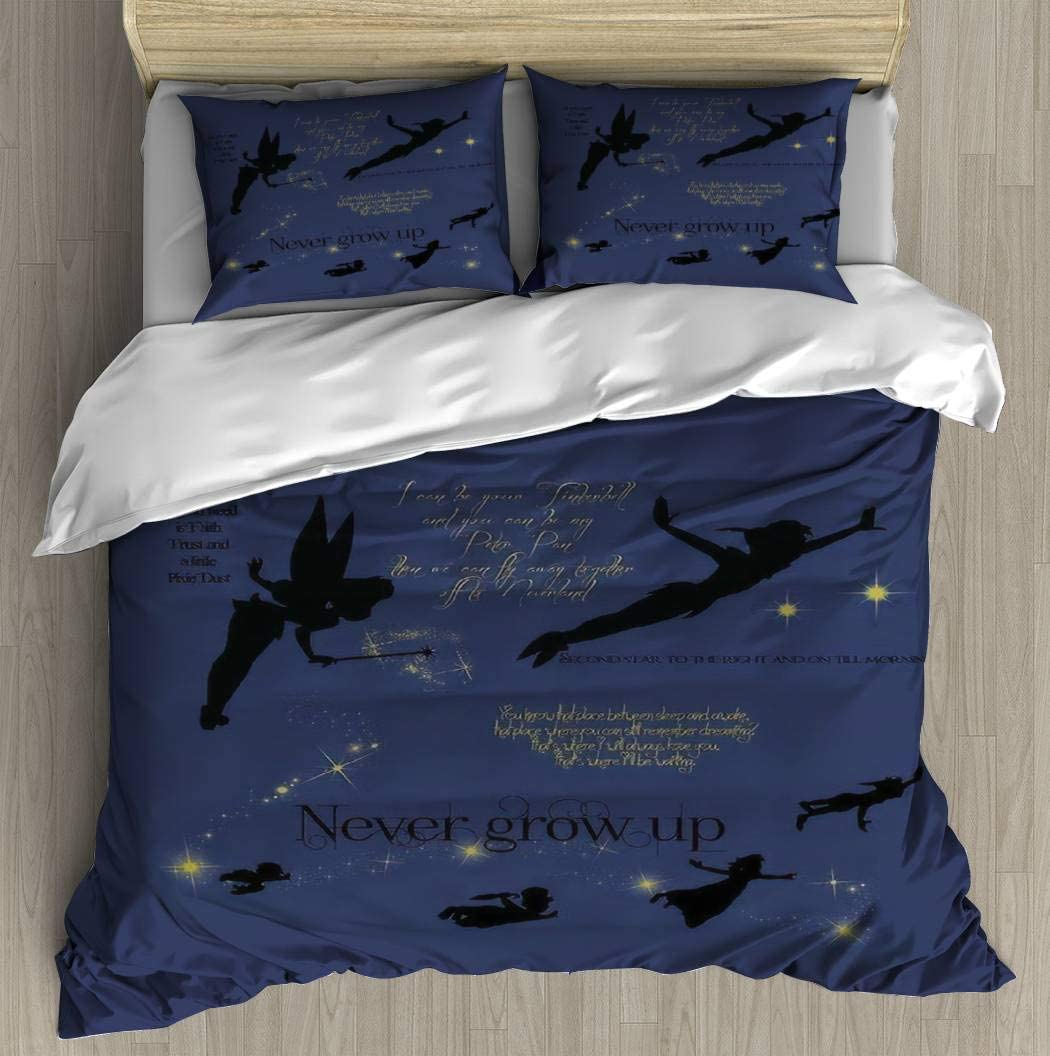 WYLZ0123xzan Neverland Bedding Duvet Cover with 2 Pillows Simple Style Bedding Set Relaxed Soft Twin Casual Modern Home Pattern Style