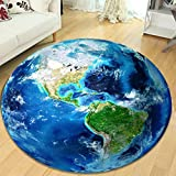 Blue Globe Round Bedroom Rug Soft Comfortable Wearable Easy Clean ( Size : 120 cm diameter )