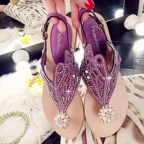 SPEEDEVE Sandalias Mujer Zapatos de Verano con Flor de Perla con Rhinestone Brillante (33-42) púrpura
