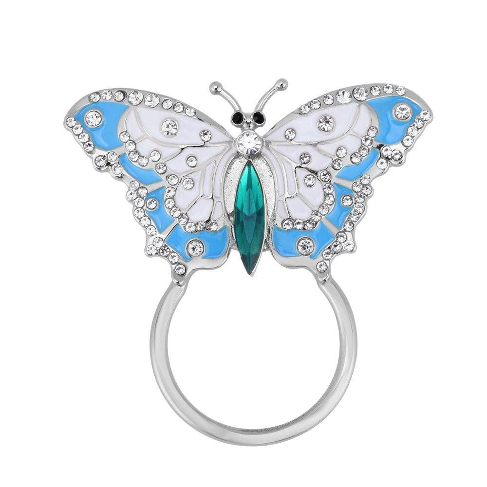 TUSHUO Flying Butterfly Magnetic Eyeglass Holder Enamel Opening Wings Butterfly Brooch (Silver)