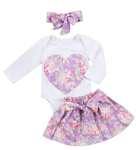 1847b1d129404 Baby Girl Toddler Long Sleeve Floral Romper Bodysuit Bowknot Skirt Headband  3 pcs Clothes Set Outfit