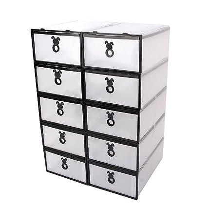 Vinteky Cajas para Zapatos 10 Unidades Cajas Almacenaje Apilables Transparente Plástico PP para fácil de Limpiar