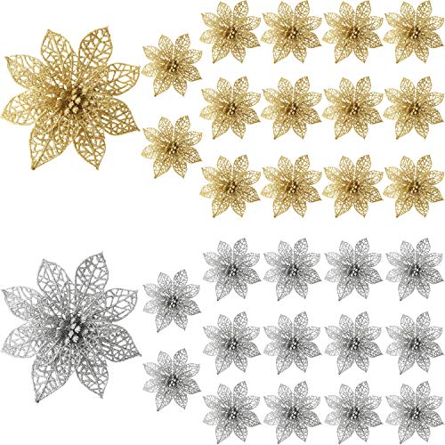 Sumind 30 Pieces Glitter Poinsettia Flowers Christmas Tree Poinsettia Ornaments for Christmas Valentine's Day New Year Floral Decorations (Gold, ()