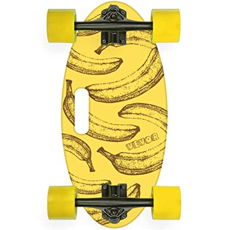 Popsport 19 Inch Mini Longboard Skateboard 440LBS Strong 7 Ply Russian Maple Complete Skateboard Cruiser Skateboard with Handle for Beginners and Pro