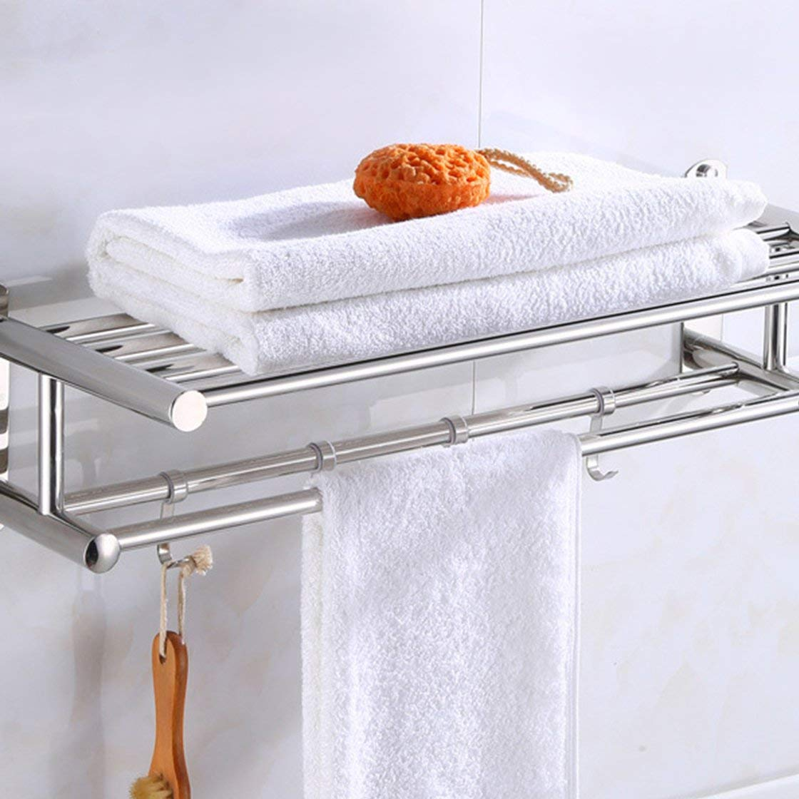 Laurelmartina Toallero de baño Organizador de baño Toallero de Pared de Acero Inoxidable Rack Home Hotel Estante de Pared Accesorio de Hardware: Amazon.es: ...