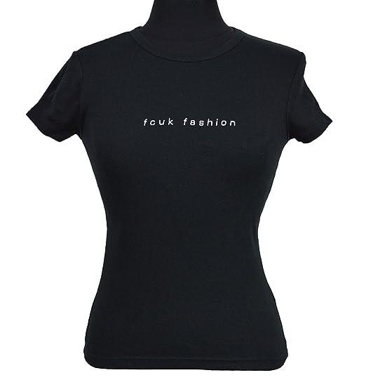 5cc36d20f28 French Connection Black FCUK Fashion Short Sleeve T-Shirt - Black -: Amazon. co.uk: Clothing