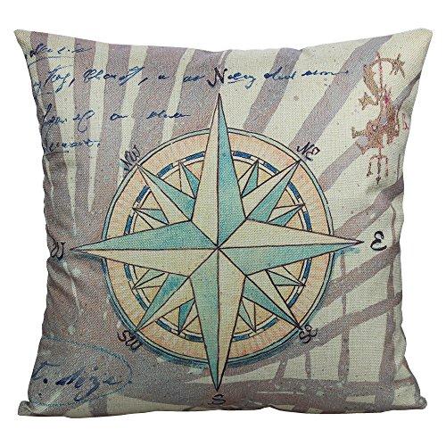 All Smiles Decorative Nautical Navigation Compass Throw Pillow Case Cushion Cover Pillowcase Outdoor Decor 18x18 Cotton Linen Bed