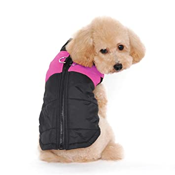 TM Pet Dog Cat Coat with Leash Anchor Color Patchwork Padded Puppy Vest Teddy Jacket Chihuahua Costumes Pug Clothes XS S M L M, Green Idepet