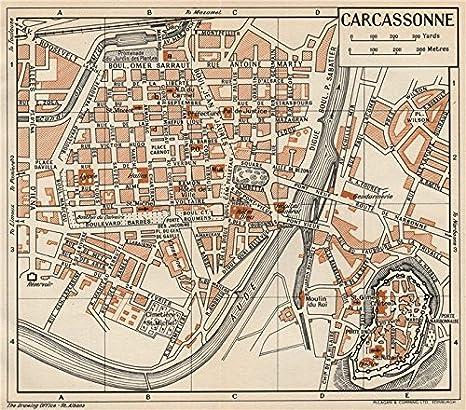 Carcassonne. Vintage Town City Mapa Plan. Aude Old Map – diseño envejecido Vintage – 1954 Mapas de Aude: Amazon.es: Hogar