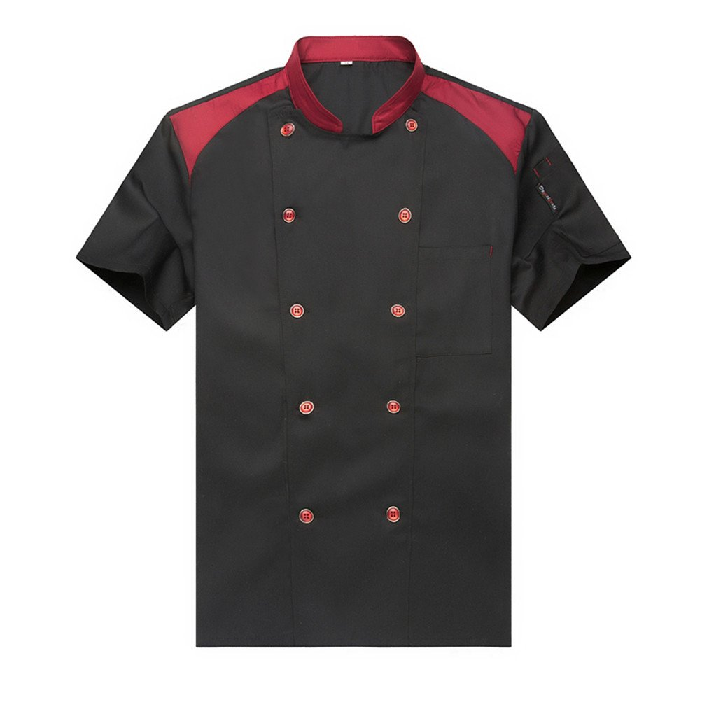 WAIWAIZUI Fashion Chef Jackets Waiter Coat Short Sleeves Size M (Label:XL) Black by WAIWAIZUI