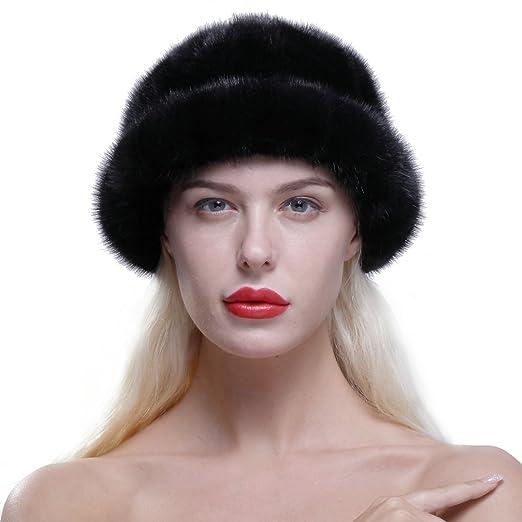 6b08a1f2411 URSFUR Women s Genuine Mink Fur Roller Hat Cap with Mink Top Black ...