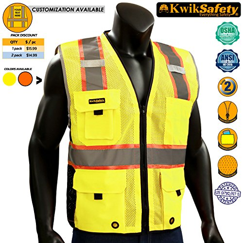 KwikSafety BIG KAHUNA | Class 2 Deluxe Safety Vest | 360° High Visibility Reflectivity ANSI Compliant Work Wear | Hi Vis 8 Pocket Breathable Mesh Men & Women Regular to Oversized Fit | Yellow L/XL