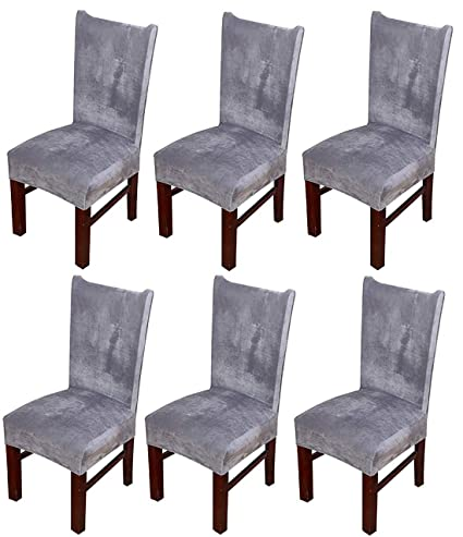 Strange Mocaa Velvet Stretch Dining Room Chair Covers Thick Soft Removable Dining Chair Slipcovers Set Of 6 M008 Light Grey Pabps2019 Chair Design Images Pabps2019Com