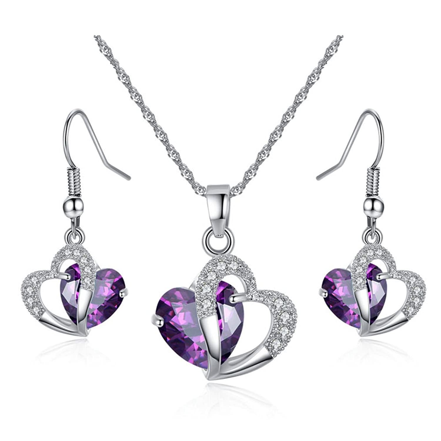 Kebaner Austrian Crystal Heart Pendant Necklace and Earrings Set 18K White Gold Plated Jewelry