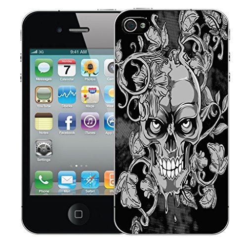 Mobile Case Mate iPhone 4 Silicone Coque couverture case cover Pare-chocs + STYLET - Black Vine Skull pattern (SILICON)