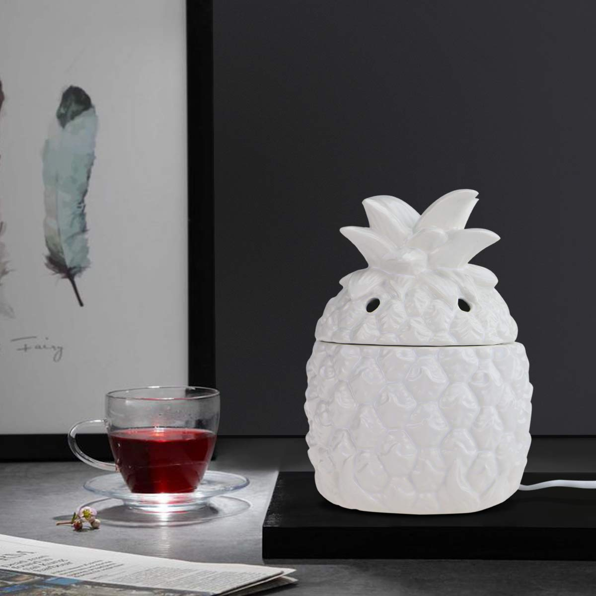 STAR MOON Pluggable Ceramic 3D Form Fragrance Warmer Wax Melter for Home/Dorm/Office No Flame No Smoke No Soot - Embossment Pineapple Pattern by STAR MOON (Image #7)