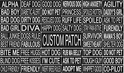 Dogline Patches For Harness, Vest Or Collar with 3M Reflective Lettering and VELCRO BRAND Backing - Service Dog, In Training, Therapy Dog, Emotional Support, and Personalized Custom Made in USA