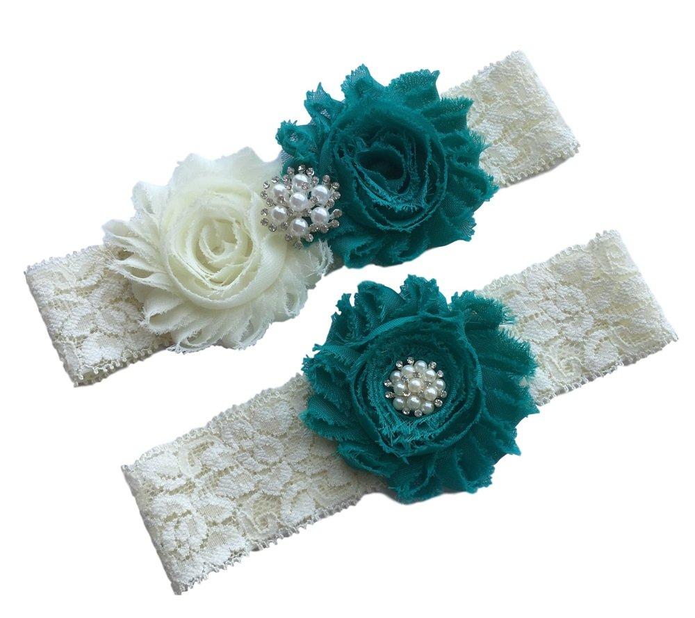 Daddasprincess Wedding Garter Ivory Bridal Lace Garter Set Something Blue Keepsake Toss Away Plus Size Belt Prom (L: 22-26 inches, Teal)