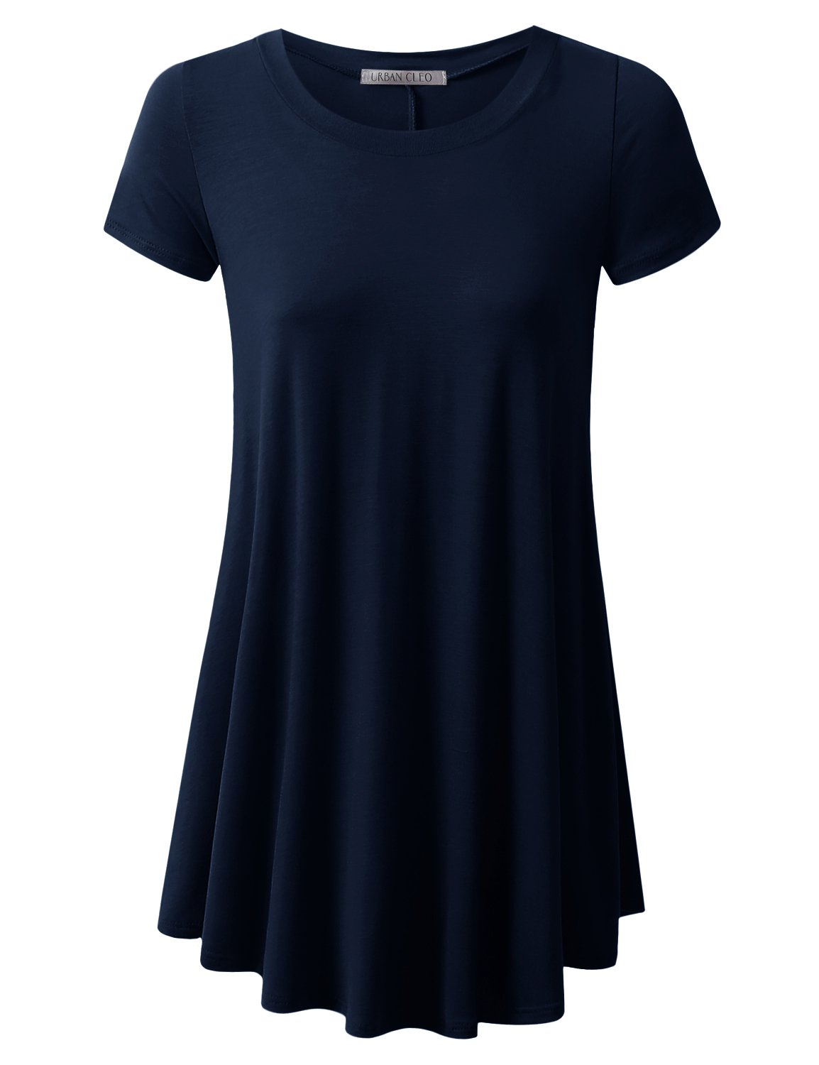 URBANCLEO Womens Round Neck Elong Tunic Top Mini T-Shirt Dress Navy 2XLARGE
