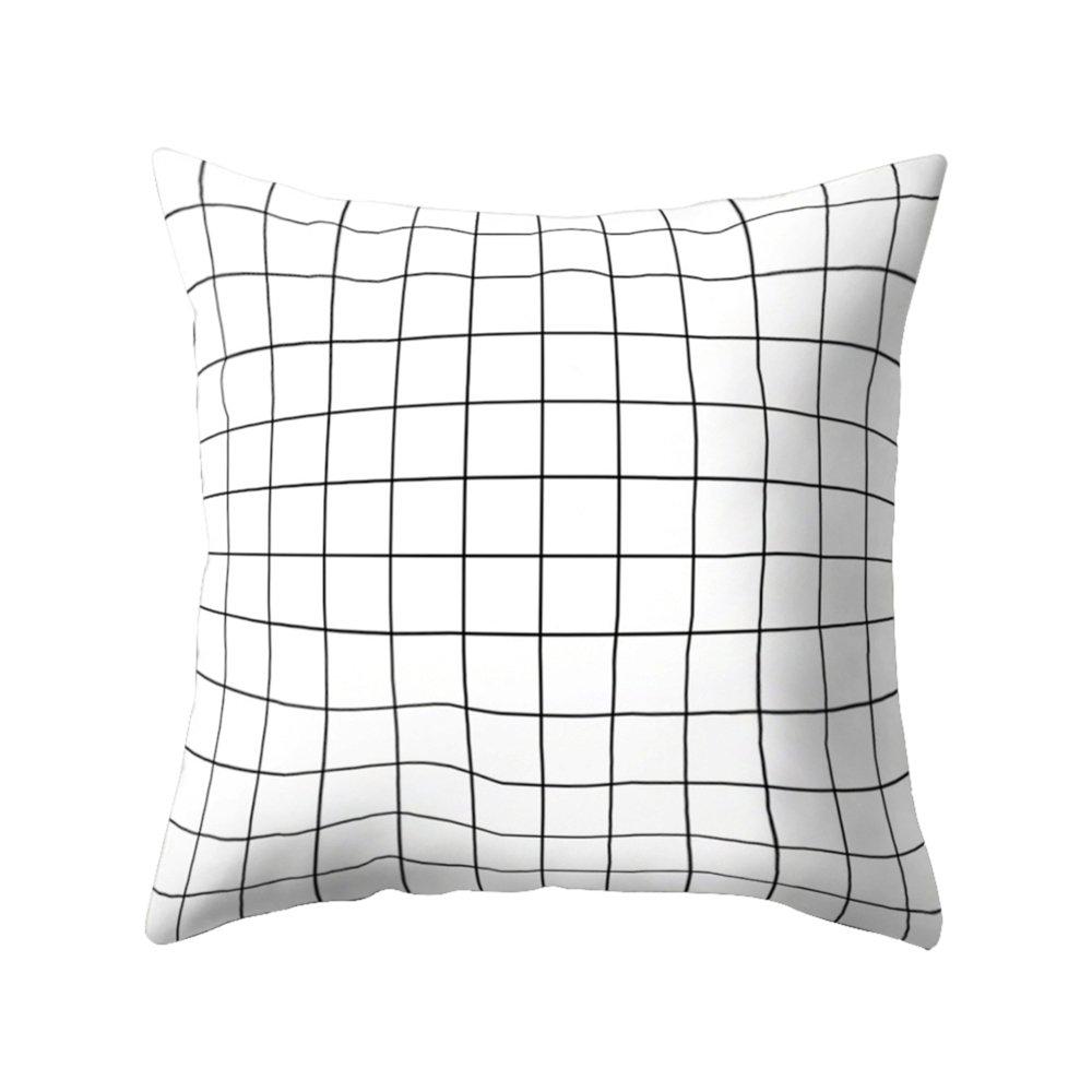 Colorido Black and White Geometric Partern Square Throw Pillow Case Waist Cushion Cover size Medium (4#)