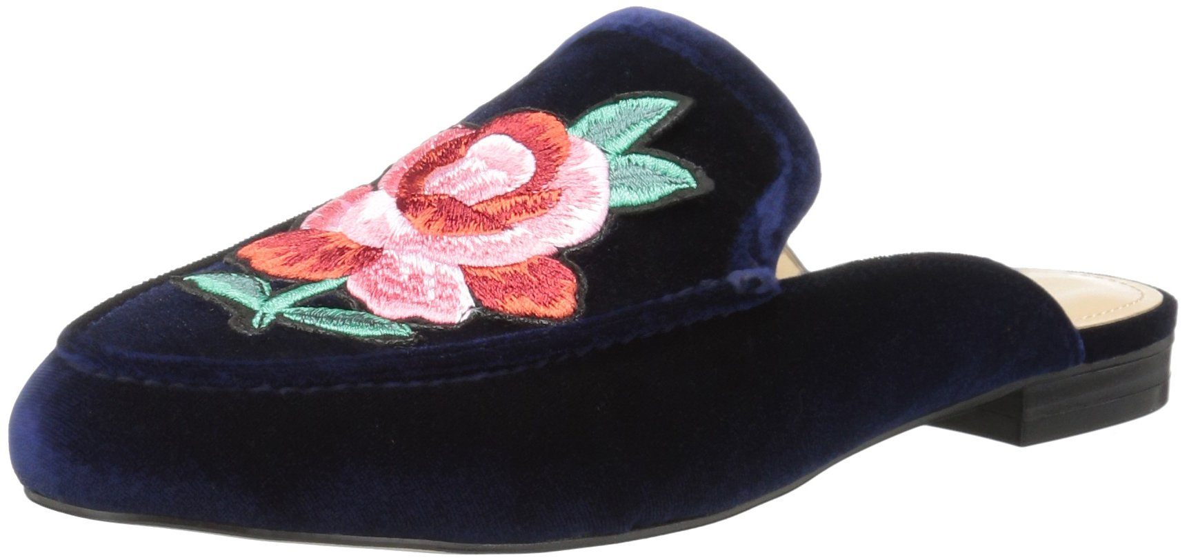 The Fix Women's Fay Embellished Slide Smoking Loafer, Midnight Navy/Flower Patch, 10 M Us