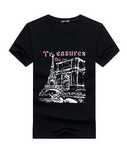 NiSeng Hommes Manches Courtes T-Shirt Casual Impression T-Shirt Mode Col Rond Jeunes T-Shirt Tops Noir M