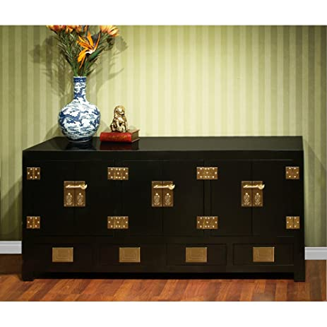 China Furniture Online Elmwood Sideboard, Chinese Ming Style Cabinet Black  Lacquer