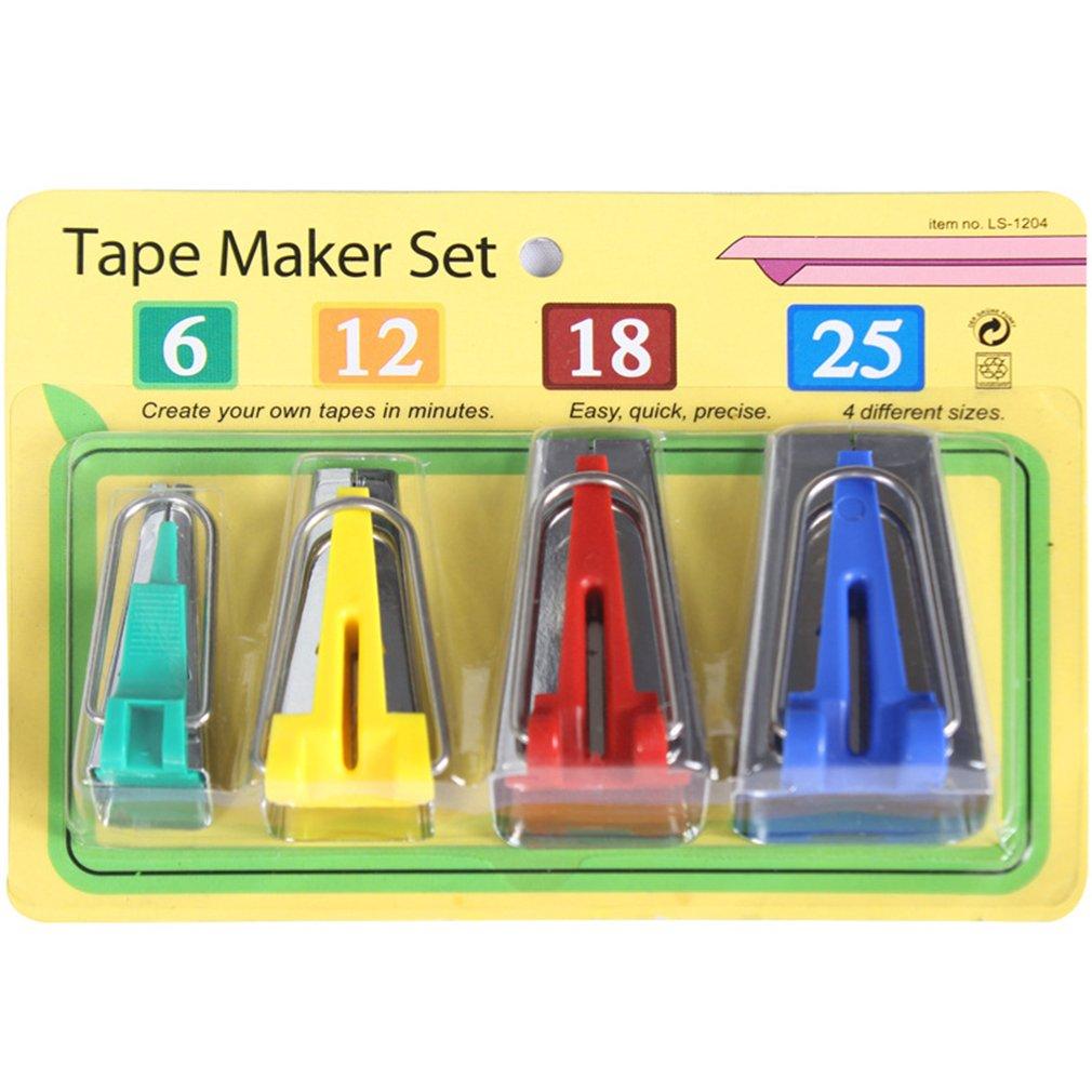 Wispun Tape Maker Set Fabric Sewing Quilting Bias Binding Maker(6mm 12mm 18mm 25mm) (4 pcs)