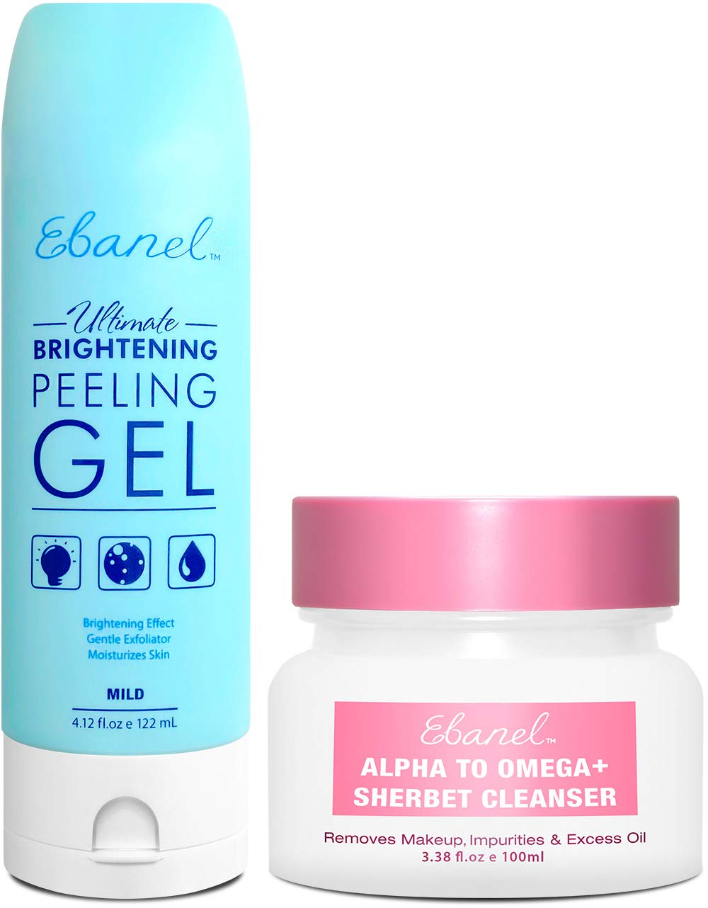 Ebanel Bundle of Gentle Exfoliating Face Scrub Peeling Gel 4.12 Oz, and Makeup Remover Cleansing Balm 3.38 Oz