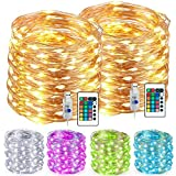 Kohree Led String Lights Outdoor Indoor Multi Color Changing Fairy String Light 33ft 100 LEDs Battery Led String Lights with Remote USB Powered for Bedroom Patio Garden (2 Pack)