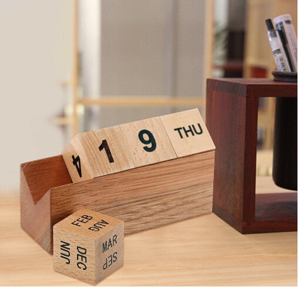 YUMU CASA legno calendario perpetuo cubo con blocchi di mese taglia unica 1 giorno e espositore Crafts decorazione per ufficio desktop Home data