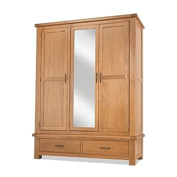 Earlsbury Solides Klobiges Holz Eiche Rustikal Triple Kleiderschrank