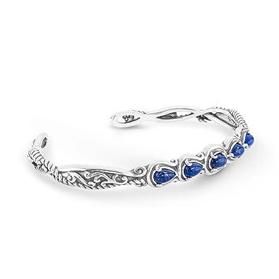 95913c874e5 Carolyn Pollack Sliver Blue Lapis Five Gemstone Cuff Bracelet - Large
