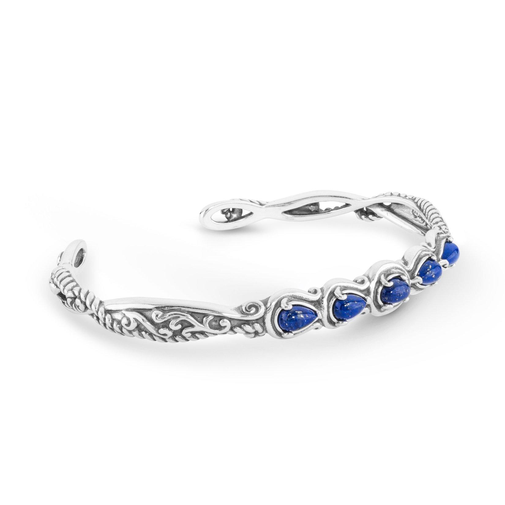 Simply Fabulous Sterling Silver & Lapis Five Stone Cuff Bracelet